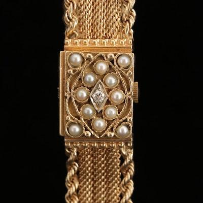 Vintage Lucerne 14K Gold Diamond and Pearl Secret Dial Wristwatch