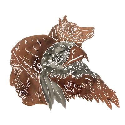 Signed Laser Cut Metal Wall Decor Depicting Native American, Wolf and Eagle