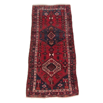 3'4 x 7'4 Hand-Knotted Persian Hamadan Wool Area Rug