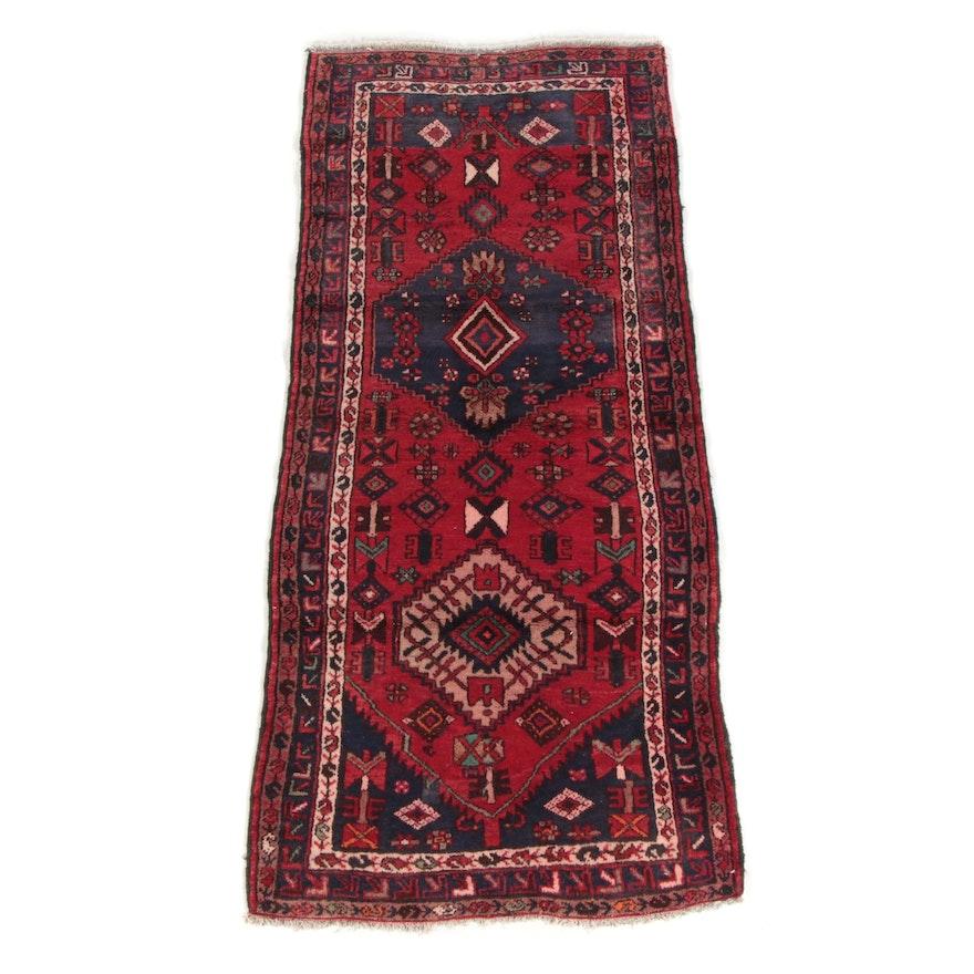 3'4 x 7'4 Hand-Knotted Persian Hamadan Wool Area Rug