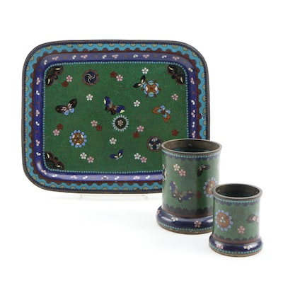 East Asian Enameled Metal Tray and Cups, Vintage