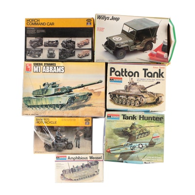 Military Model Kits Including AMT M1 Abrams Tank in Original Packaging