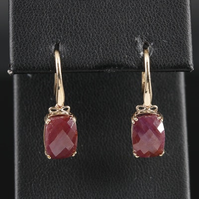 9K Yellow Gold Ruby Earrings