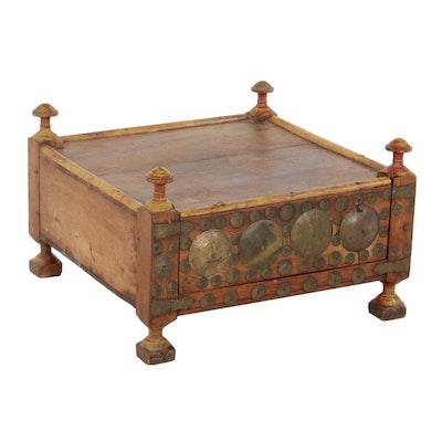 Pakistani Swat Valley Handmade Wooden Wedding Box with Brass Decoration