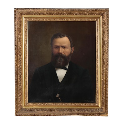 F. Degenhardt Munich School Style Masonic Portrait Oil Painting, 1891