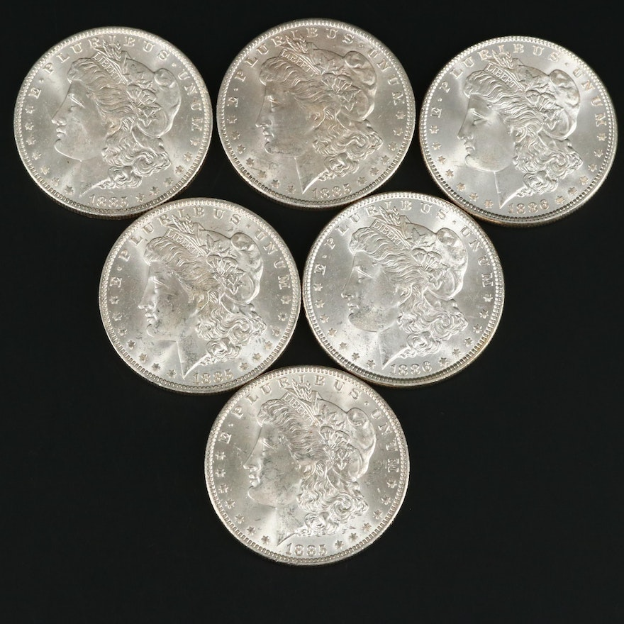 Six Uncirculated Morgan Silver Dollars