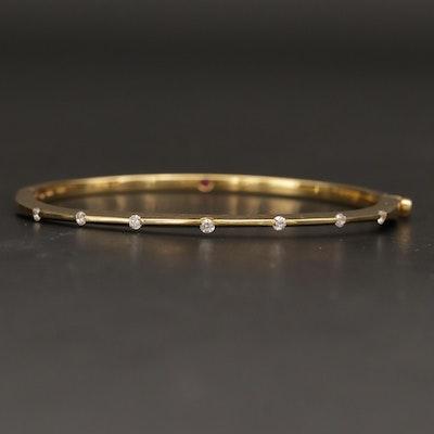 "Roberto Coin ""Classica"" 18K Yellow Gold Diamond Bangle Bracelet"