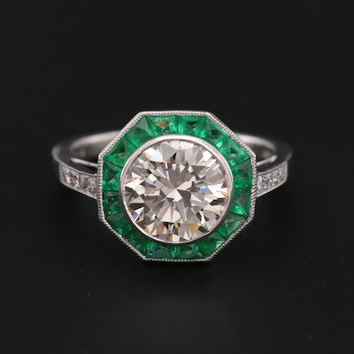 Sophia D Platinum 2.27 CTW Diamond and Emerald Ring