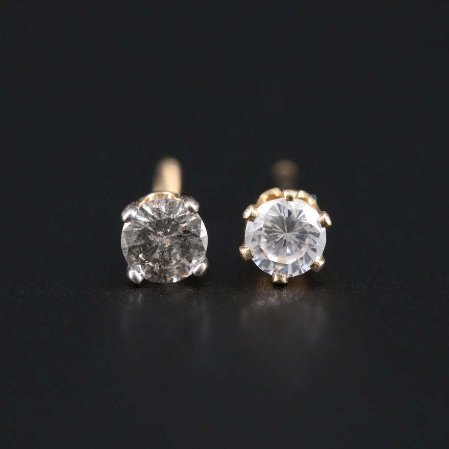 14K Yellow Gold Cubic Zirconia and 0.12 CTW Diamond Mismatched Stud Earrings