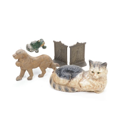 Cast Iron and Bronze Bookends and Doorstops, Mid to Late 20th Century