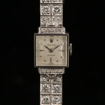 Rolex 18K and 14K Gold 7.39 CTW Diamond Wristwatch, Circa 1950
