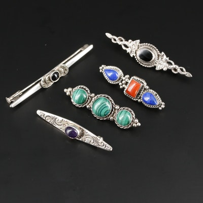 Vintage Sterling Silver Black Onyx and Gemstone Bar Brooches