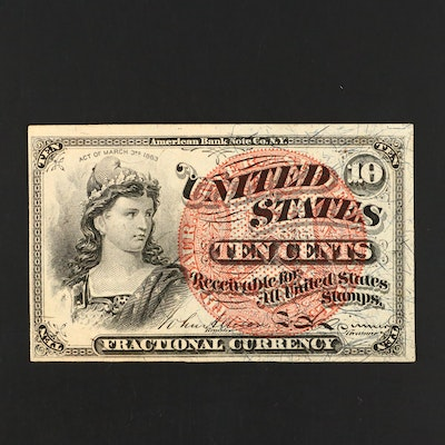 Fourth Issue Ten Cent Fractional Currency Note With Bust of Liberty