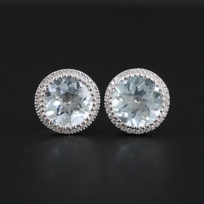 14K White Gold Aquamarine and Diamond Earrings