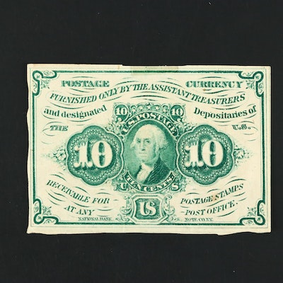 1862 First Issue United States Ten Cent Fractional Currency Note