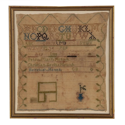 American Pennsylvania Mensch Genealogy Needlework Sampler, Early 19th Century