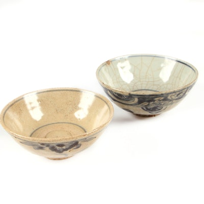 Chinese Hand-Painted Blue and White Crackle Glaze Bowls, Antique