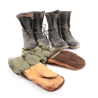 Corcoran Leather Military Jump Boots and G.I. Arctic Mittens, Vintage