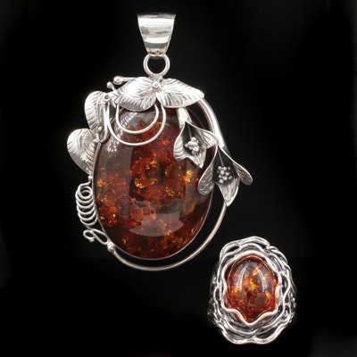 Sterling Silver Amber Ring and Pendant