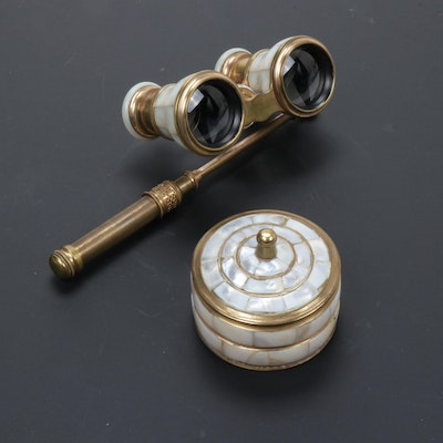 Verdi Paris Mother of Pearl Opera Glasses and Pill Box, Early 20th Century