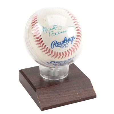 Marty Brennaman Signed Reds Hall of Fame Announcer Rawlings Baseball with Holder