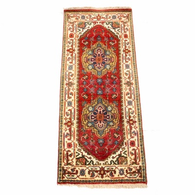 2'5 x 6'3 Hand-Knotted Indo-Persian Heriz Serapi Rug