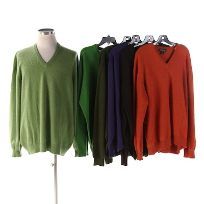 Brooks Brothers Italian and Scottish Cashmere V-Neck Sweaters