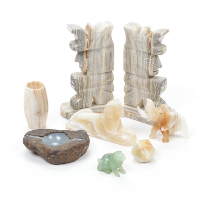 White Onyx and Other Carved Stone Bookends with Figurines and Others