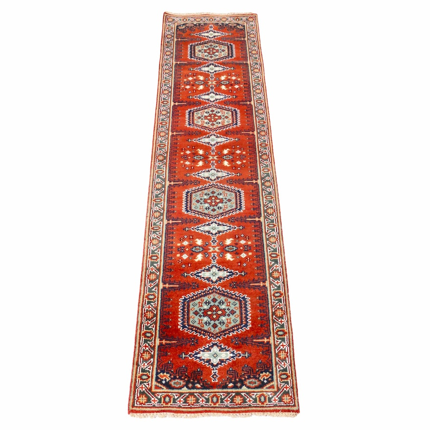 2'7 x 10'1 Hand-Knotted Indo-Persian Heriz Runner