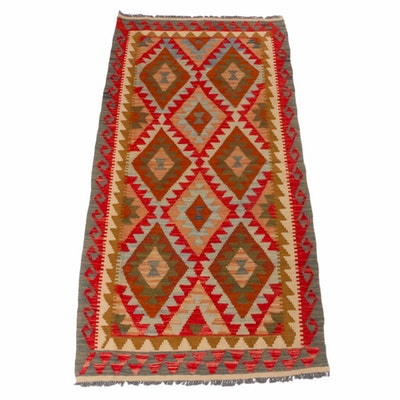 3'5 x 6'11 Hand-Woven Turkish Kashkoli Style Kilim Rug