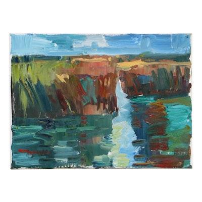 """Jose Trujillo Landscape Oil Painting """"Marsh River,"""" 2019"""