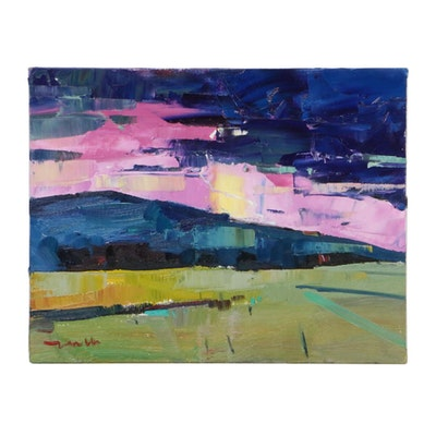 "Jose Trujillo Landscape Oil Painting ""Lavender Twilight,"" 2019"