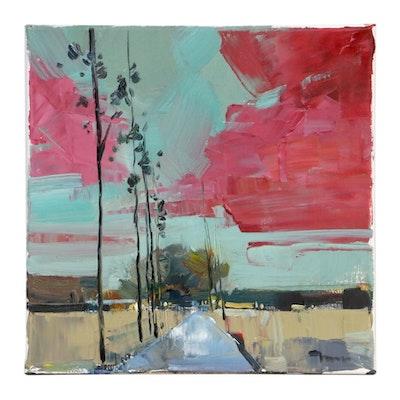 "Jose Trujillo Landscape Oil Painting ""The Road,"" 2019"