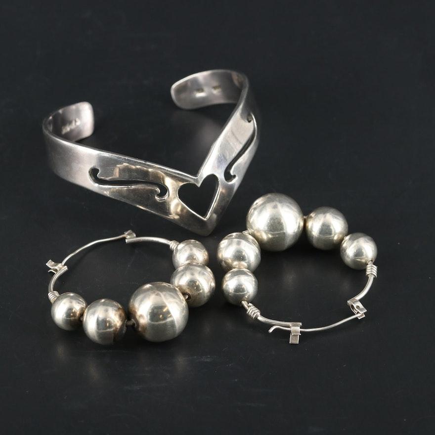 Mexican Sterling Silver Cuff Bracelet with Beaded Hoop Earrings