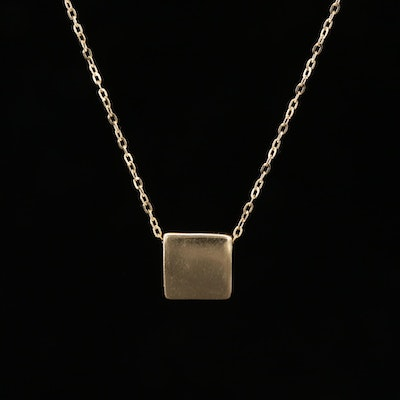 14K Yellow Gold Square Pendant Cable Chain Necklace