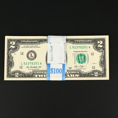 Fifty Consecutively Serial Numbered 2013 $2 Federal Reserve Notes