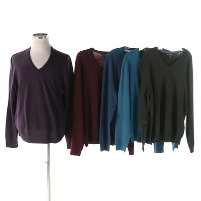 Men's Brooks Brothers SaxXon and Italian Merino Wool V-Neck Sweaters