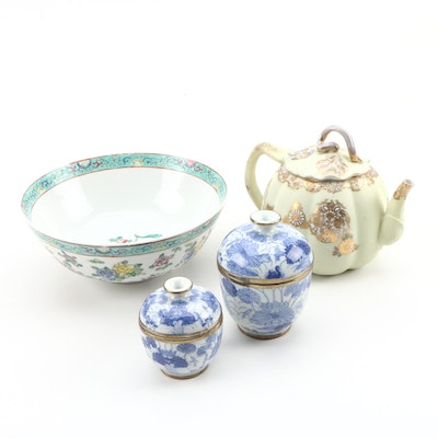 Chinese Pumpkin Form Porcelain Teapot with Other East Asian Porcelain Vessels