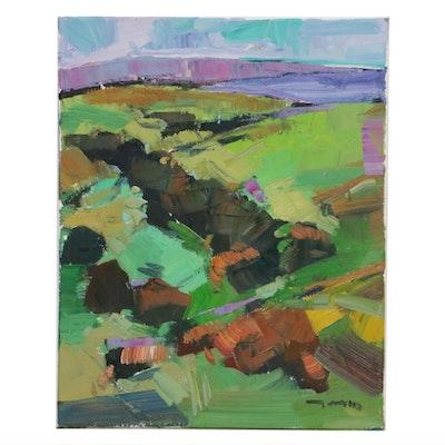 "Jose Trujillo Landscape Oil Painting ""Rolling Hills,"" 2019"