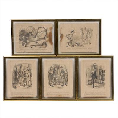 Political Cartoon Wood Engravings, Mid 19th Century