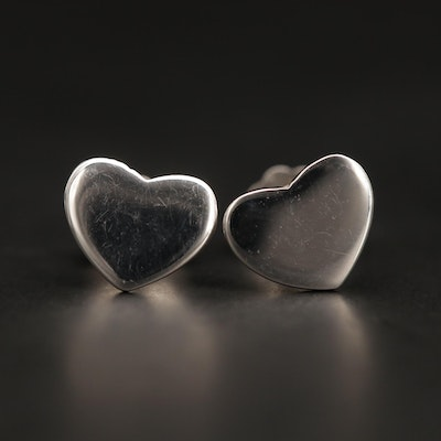 14K White Gold Heart Motif Stud Earrings