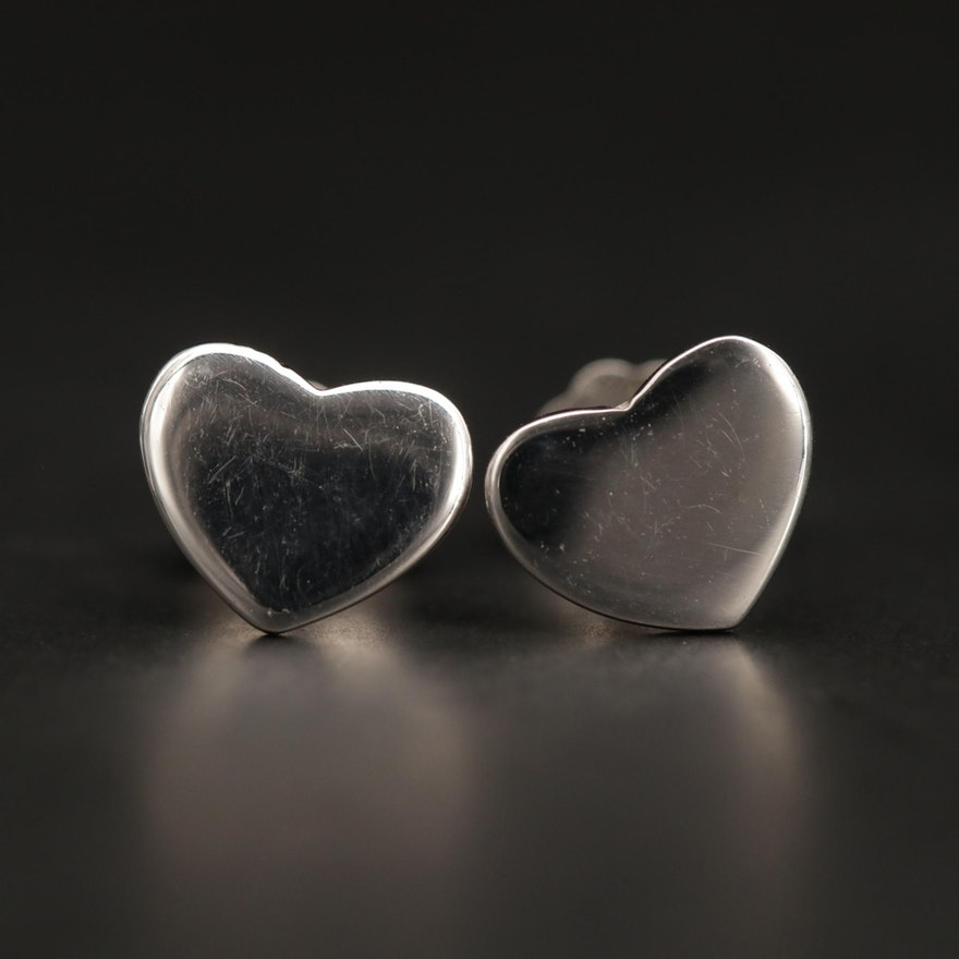 14K White Gold Heart Motif Stud Earrings