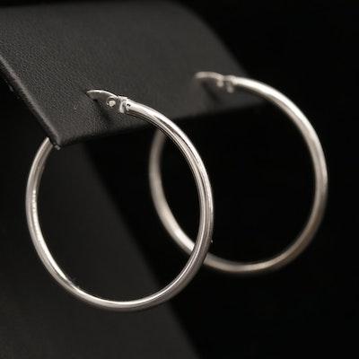 18K White Gold Hoop Earrings