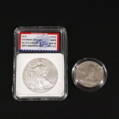 2016 Silver Eagle 30th Anniversary Silver Eagle with 2003-P Commemorative