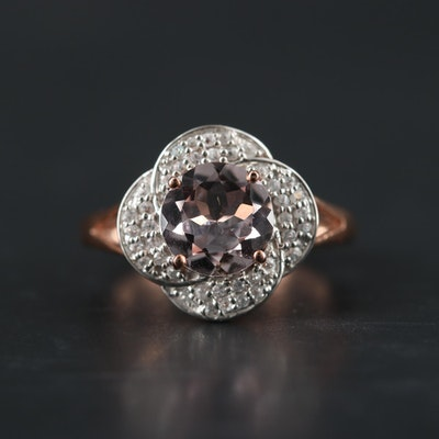 14K Rose Gold Morganite and White Topaz Ring
