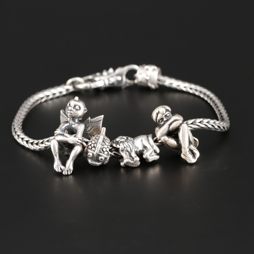 Troll Sterling Silver Charm Bracelet with Pandora Charm
