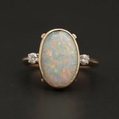 Vintage Baden & Foss 14K Yellow Gold Opal and Diamond Ring