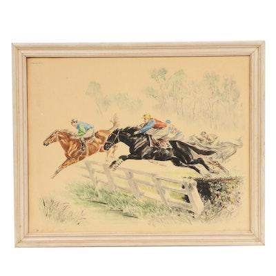 "Louis Claude Hand-Colored Etching ""Saut au Brook"""