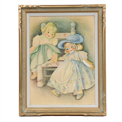Watercolor Painting of Two Dolls, Mid-20th Century