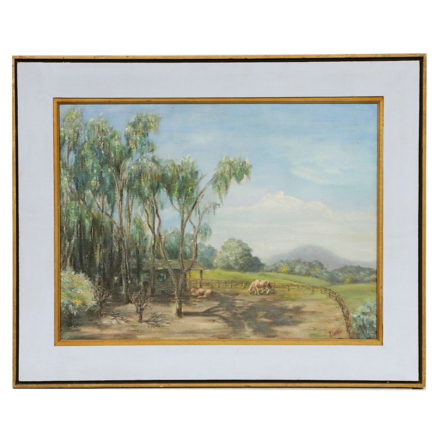 K. Welton Farm Landscape Oil Painting, Mid to Late 20th Century